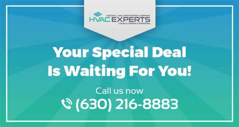 An invitation to check out HVAC Experts' special offers.