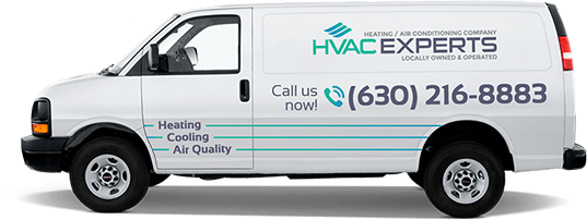 A white van with HVAC Experts' logo, contacts and main service list.